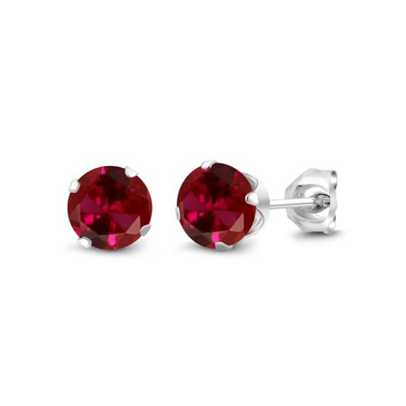 2.00 Ct Round 6mm Red Created Ruby 925 Sterling Silver Stud Earrings