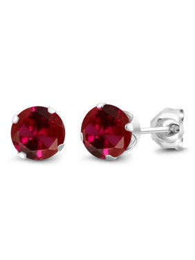 c3ff11321 Product Image 2.00 Ct Round 6mm Red Created Ruby 925 Sterling Silver Stud  Earrings
