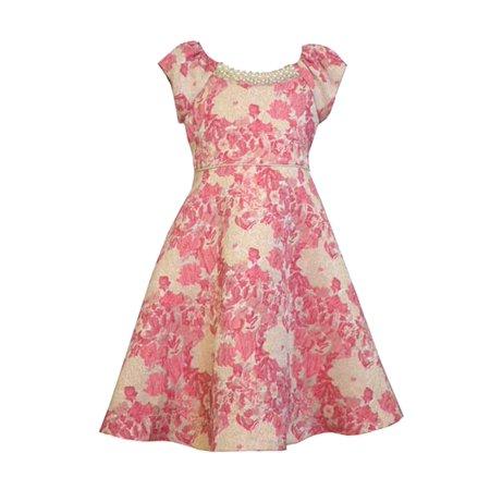 Brocade Pearl - Little Girls 4-6X Pink Metallic Brocade Pearl Neckline Fit Flare Dress [BNJ06365]
