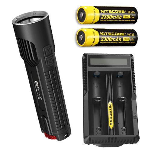 Bundle: Nitecore EC4S 2150 Lumen Flashlight CREE XHP50 LED w/2x NL183 18650 Batteries  and  UM20 Charger