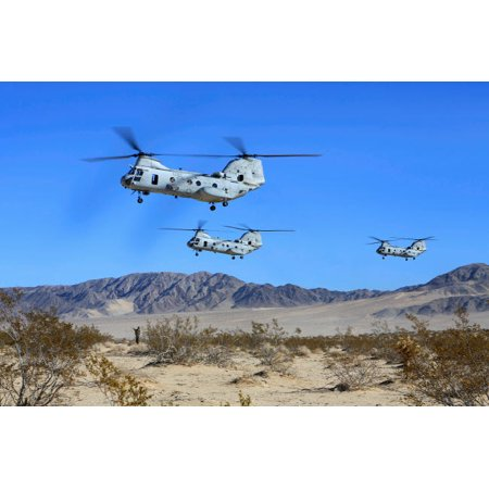 Ch 46E Sea Knight Transport Helicopters Fly Over Camp Wilson Poster Print By Stocktrek Images