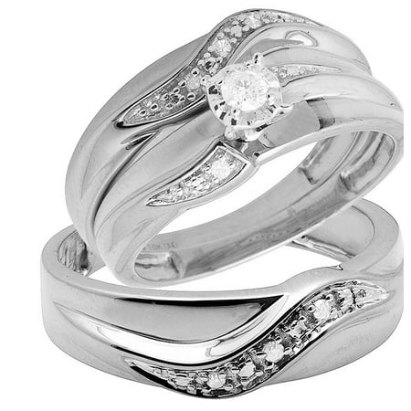 10K White Gold Real Diamond Solitaire Trio Wedding Ring Set - 10k Gold Solitaire Ring
