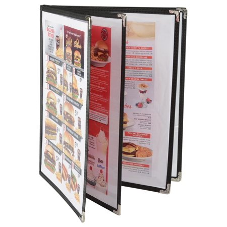 """Set of 10, 4-Page Menu Covers for 8.5"""" x 11"""" Sheets, Black Synthetic Leather Trim with Ornate Silver Metal Corners (FUBMUFDR11)"""
