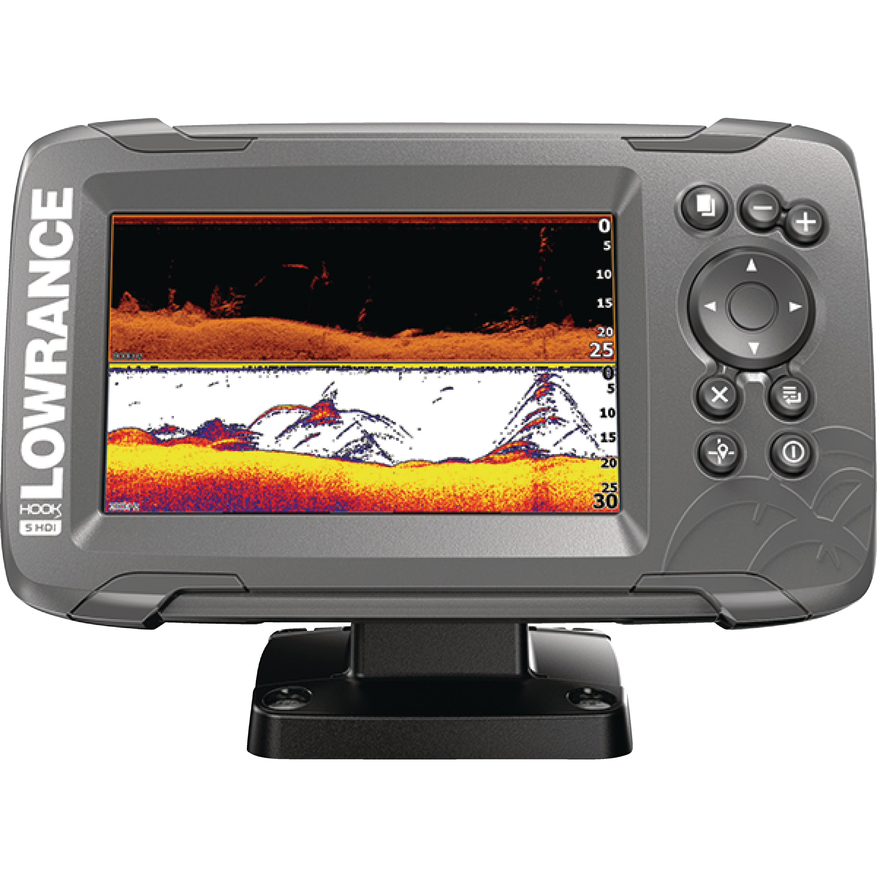 "Lowrance 000-14282-001 HOOK-2 5 Fishfinder with SplitShot Transducer, US/Canada Nav+ Maps, CHIRP, DownScan Imaging & 5"" Display"