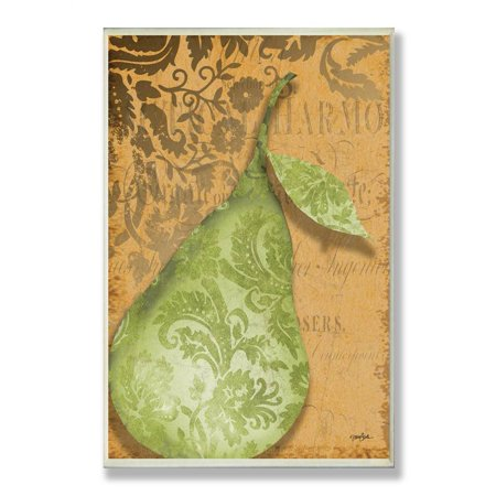 Green Pear Damask Kitchen Wall Plaque