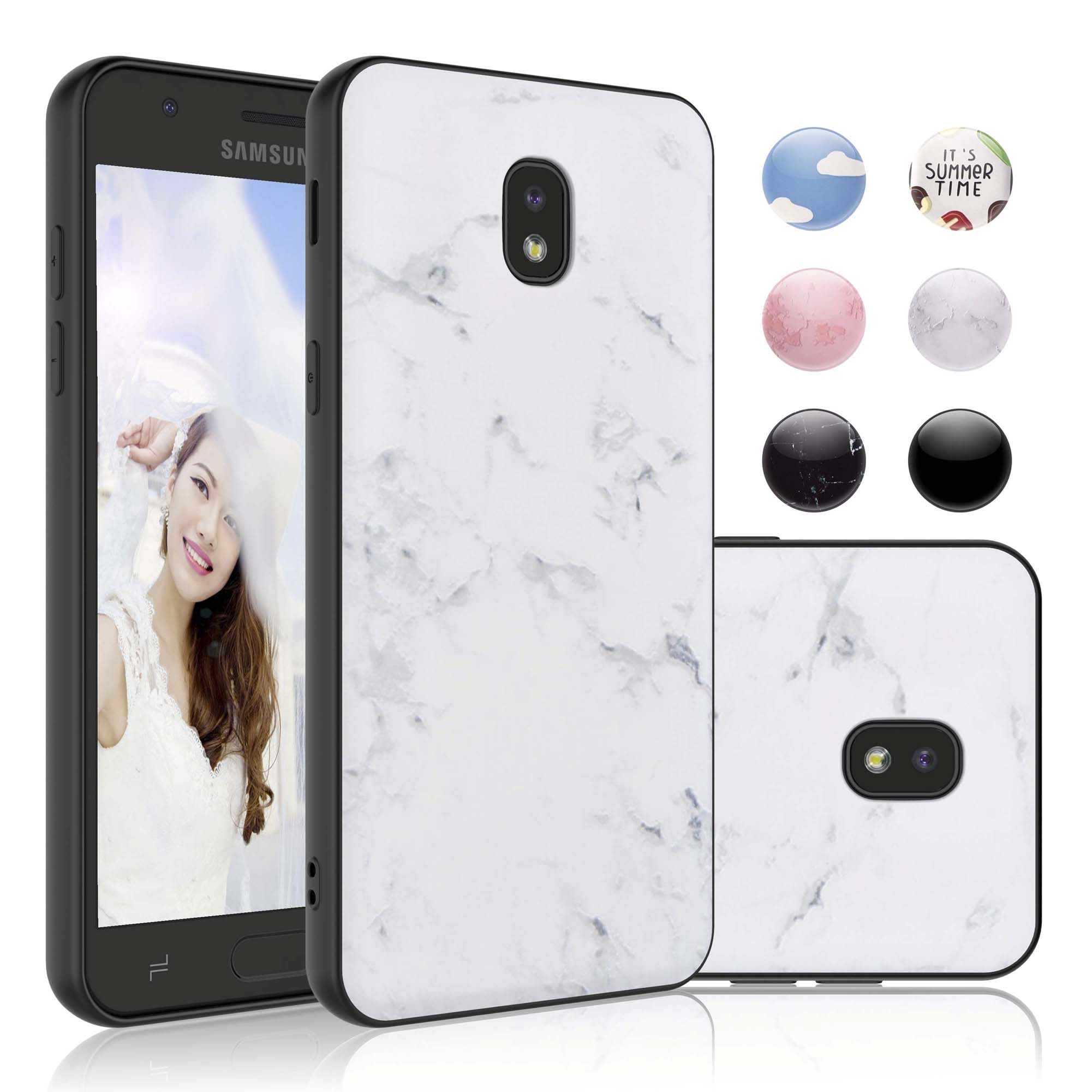 Njjex Case For Samsung Galaxy J7 2018 / J7 Refine / J7 Aero / J7 Aura / J7 Crown / J7 Top / J7 Eon / J7 Star, Slim-Fit Drop Protection Protective TPU Case Marble Design -White Marble