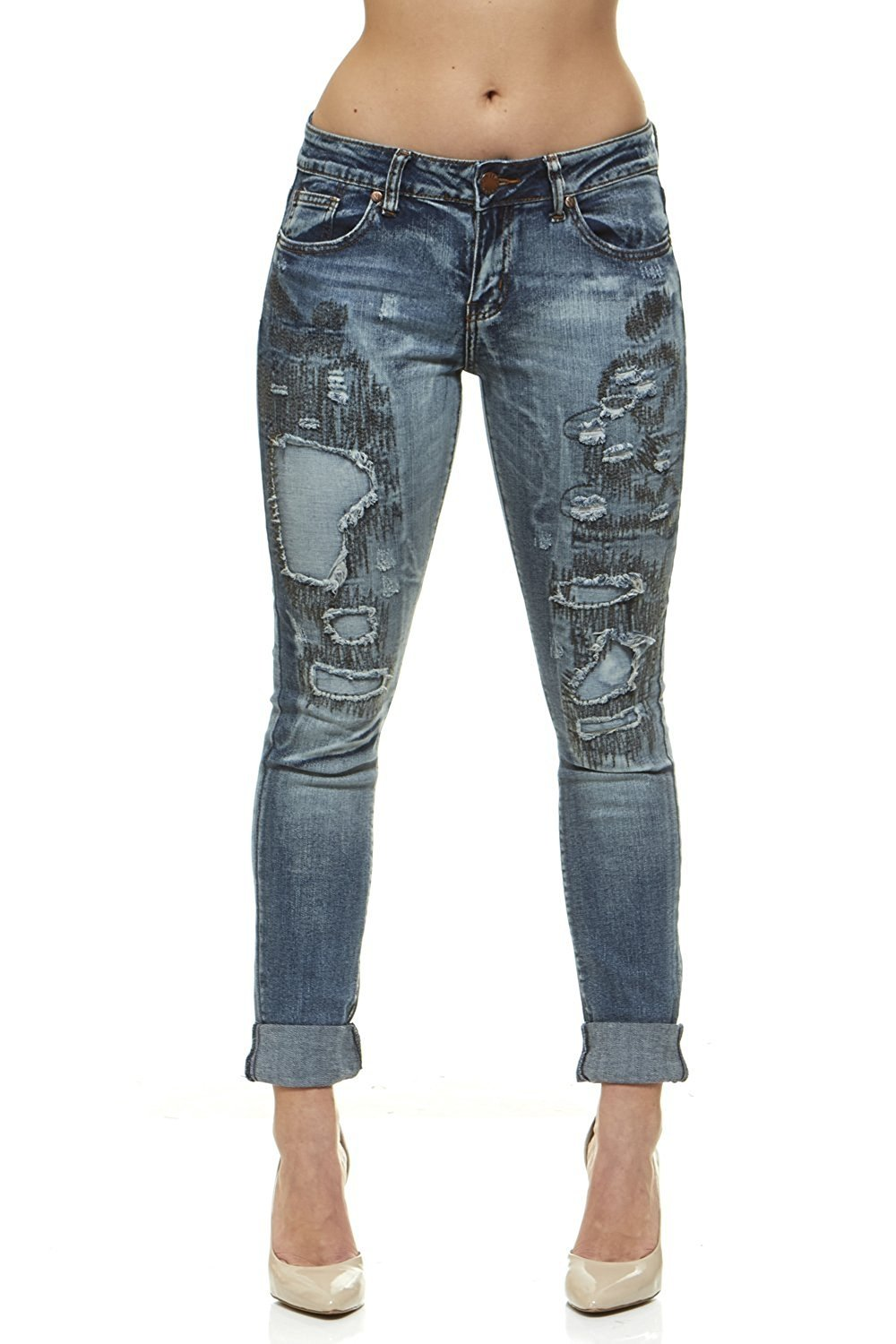 V.I.P.JEANS Distressed Patched and Repaired Skinny Stretch Ripped Jeans For Women Cuffed Junior and Plus Sizes