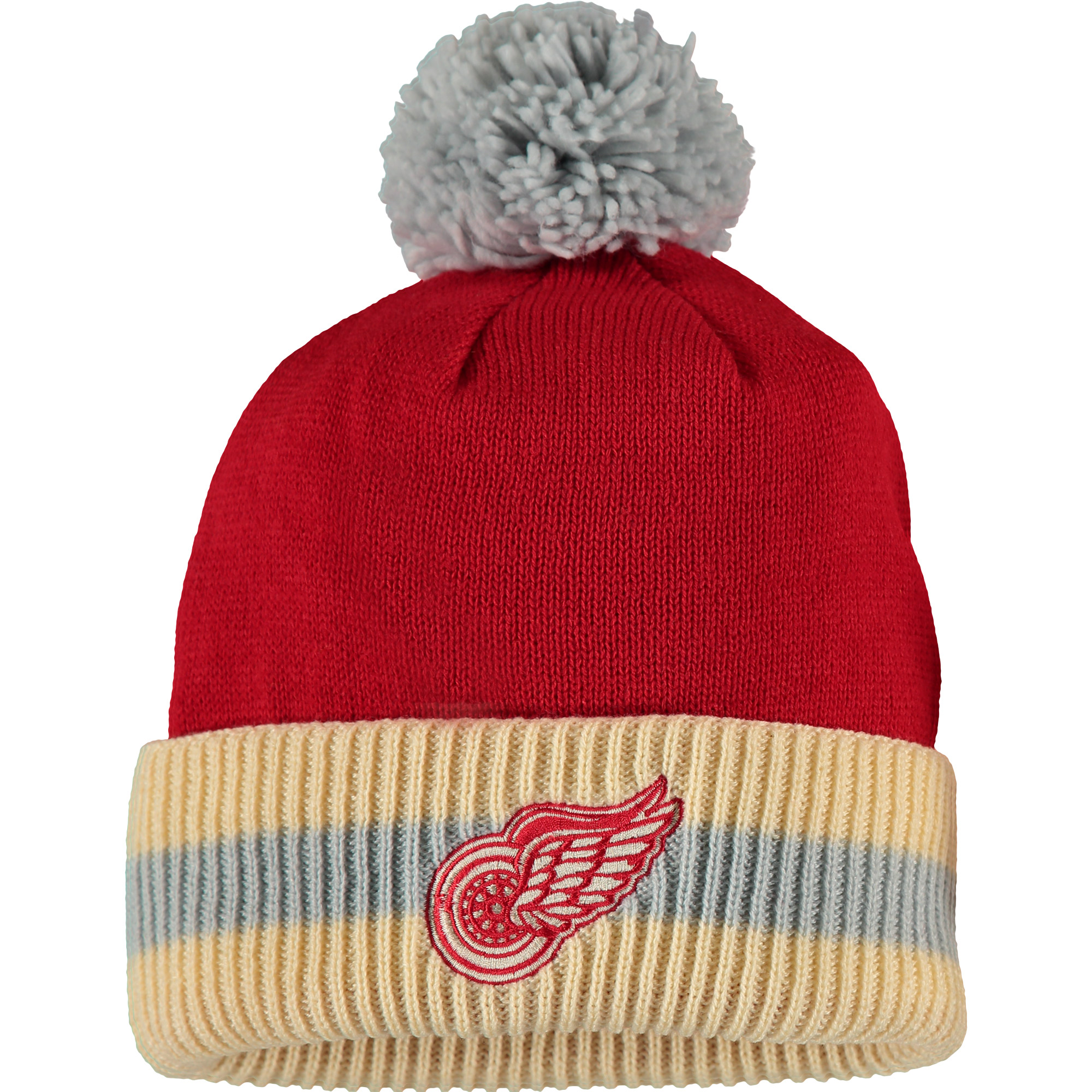 Detroit Red Wings CCM Two-Tone Cuffed Knit Hat - Red/Cream - OSFA
