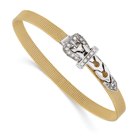 (14k Two Tone Gold and CZ Buckle Adjustable Mesh Bracelet, 7-7.5 Inch)