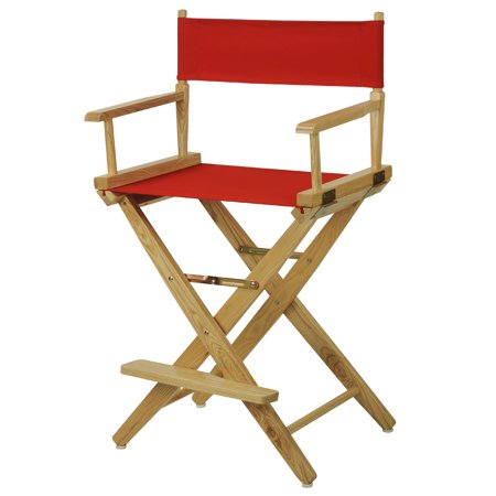 """Extra-Wide Premium 24"""" Directors Chair Natural Frame W/Red Color Cover"""
