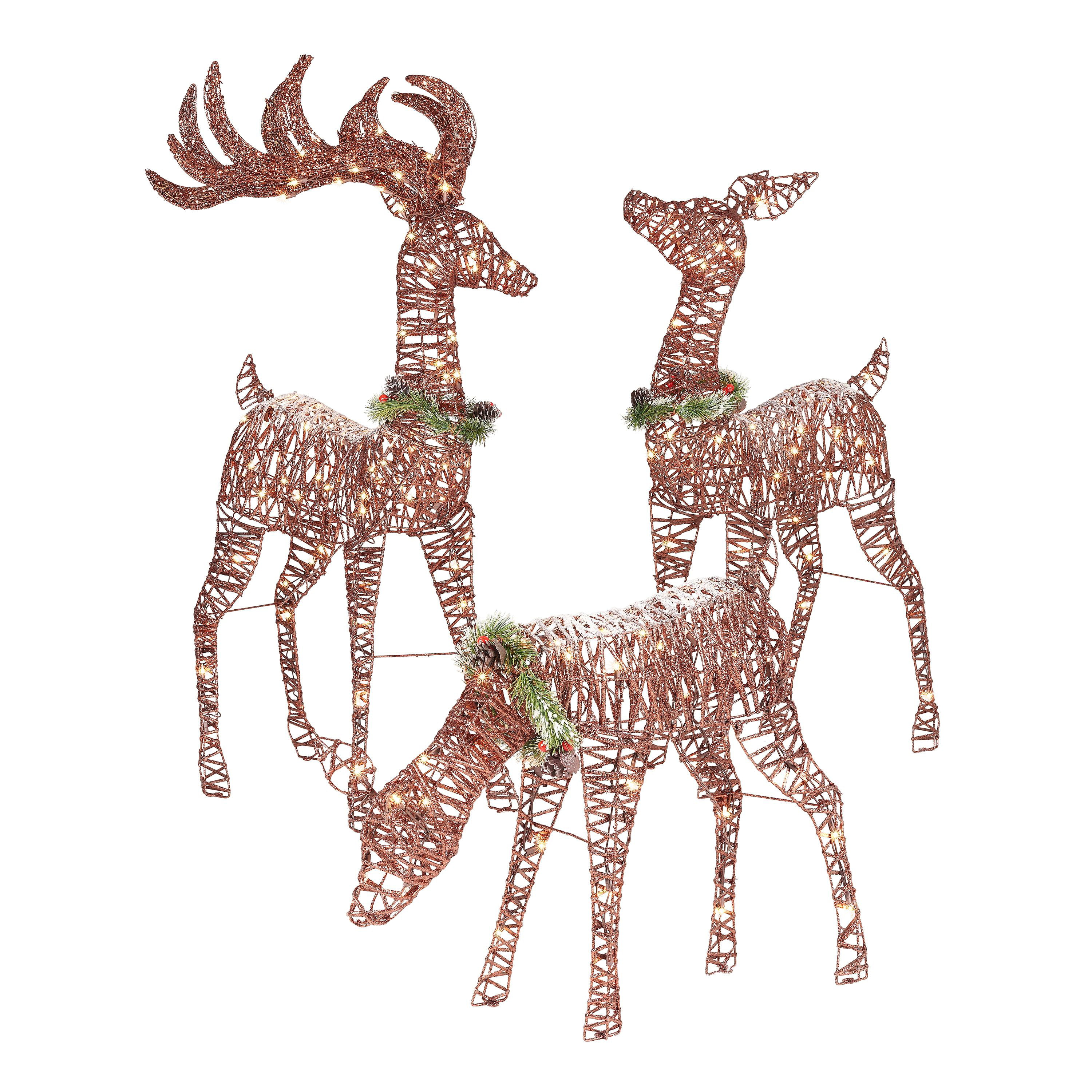 Outdoor Christmas Decorations Images: Holiday Time Light-up Outdoor 3-Piece Reindeer Family