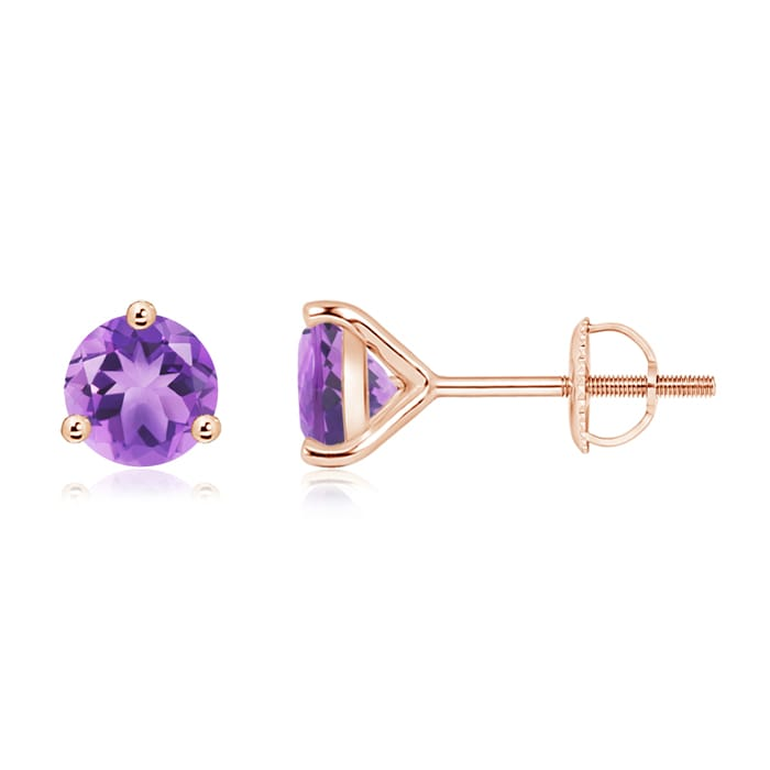 Angara Womens Amethyst Stud Earrings in Rose Gold GGLpC