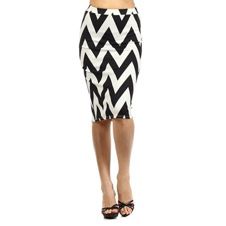 Border Knit Skirt (Women's  Chevron print  Knit Pencil Skirt)