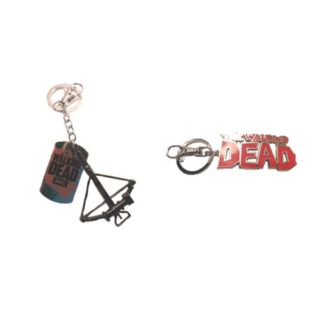 Walking Dead Accessories (Superheroes AMC the Walking Dead Logo and Daryl's Crossbow (2-Pack) Keychain for Autos, Home or Boat with Gift)