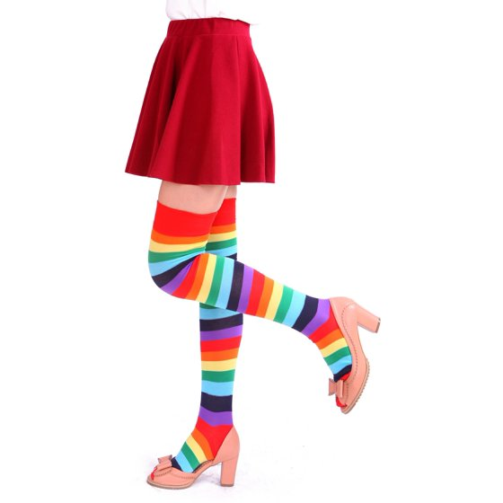 be1f73cdb HDE - Women s Extra Long Striped Socks Over Knee High Opaque ...