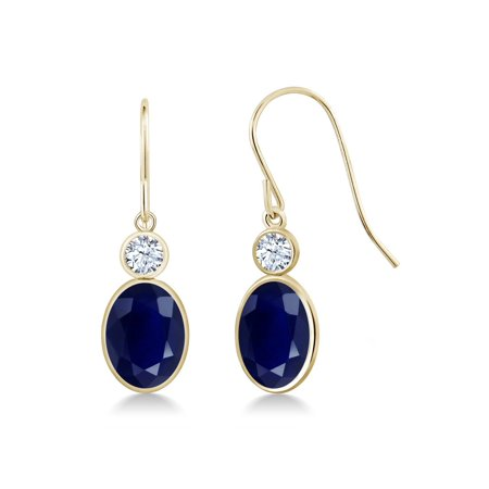 3.80 Ct Oval Blue Sapphire 14K Yellow Gold Earrings