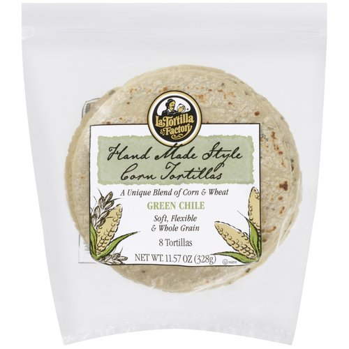 La Tortilla Factory Green Chile Corn & Wheat Tortillas, 8 ct