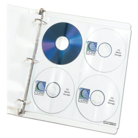 128 Cd Binder (C-Line Deluxe CD Ring Binder Storage Pages, Standard, Stores 8 CDs, 5/PK)