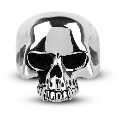 Steel Art Men's Stainless Steel Black Oxidized Skull Ring