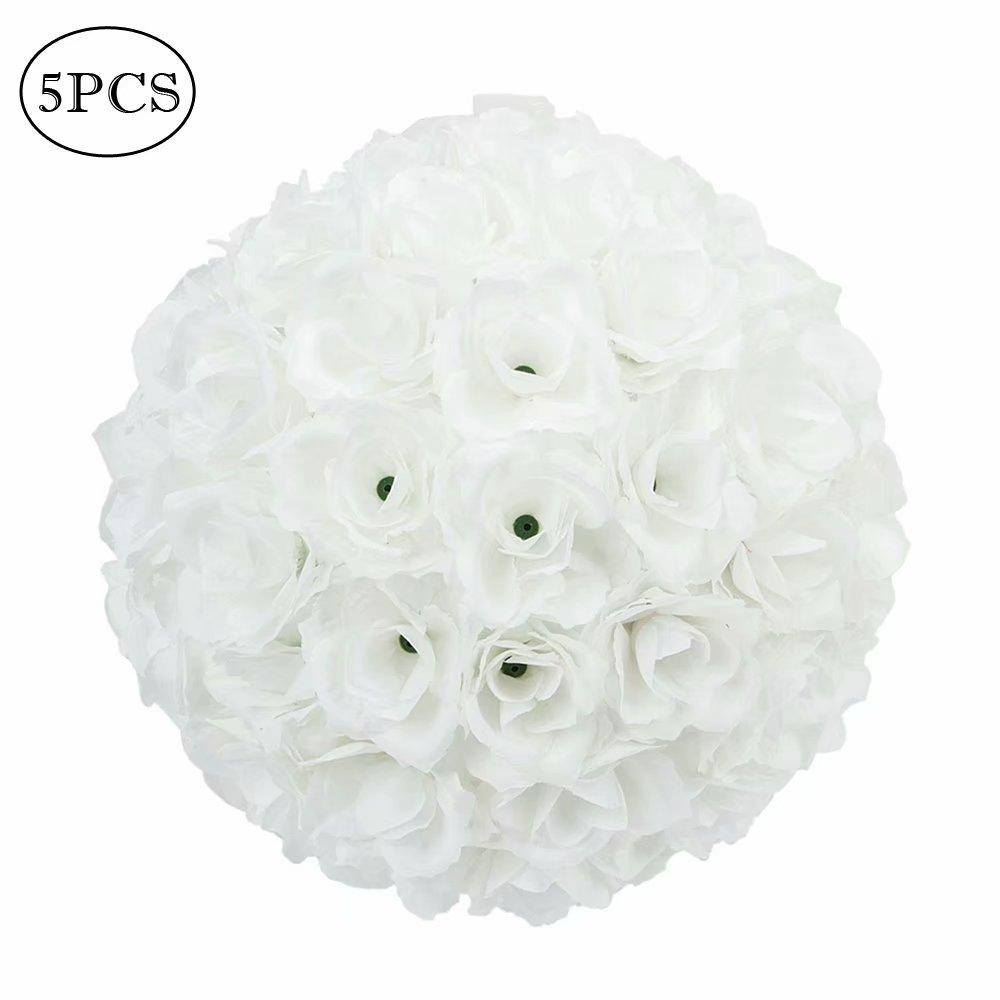 5pcs 25cm flower balls wedding decoration white