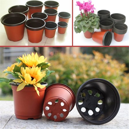 Black Gold Seedling - 100Pcs Plastic Garden Nursery Pots Flowerpot Seedlings Planter Containers Set
