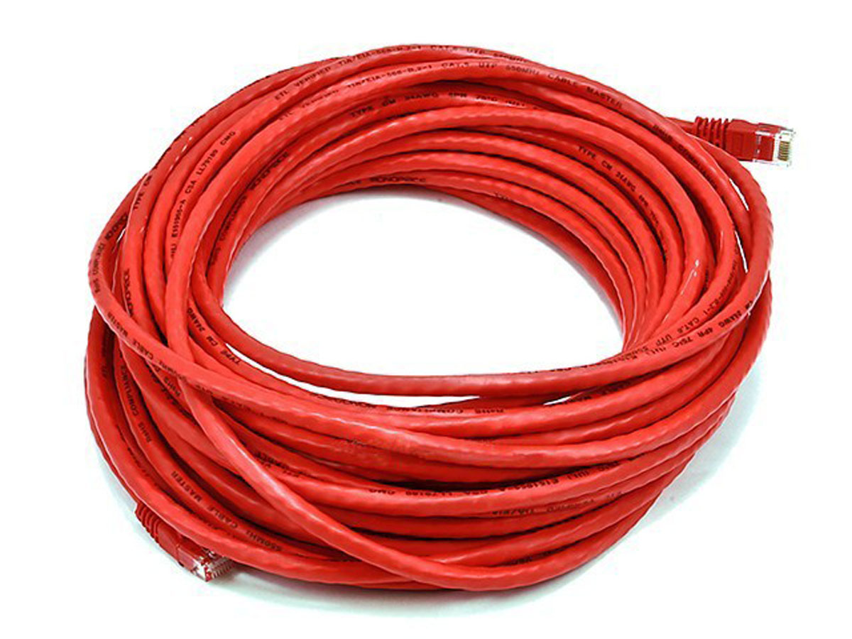Cables Cat5e Red Ethernet Patch Cable Snagless Molded Boot 7 Foot