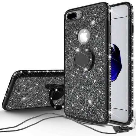 save off fdabb d8889 Apple iPhone 7 Case, Cute Glitter Bling Diamond Rhinestone Phone Case with  Ring Stand, Bumper Sparkly Clear Thin Soft Protective Cover for iPhone 7 ...