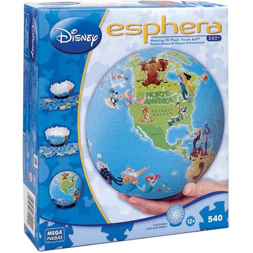 "Mega Puzzles Disney Esphera 9"" Globe Puzzle Disney Characters, 540 Pieces"