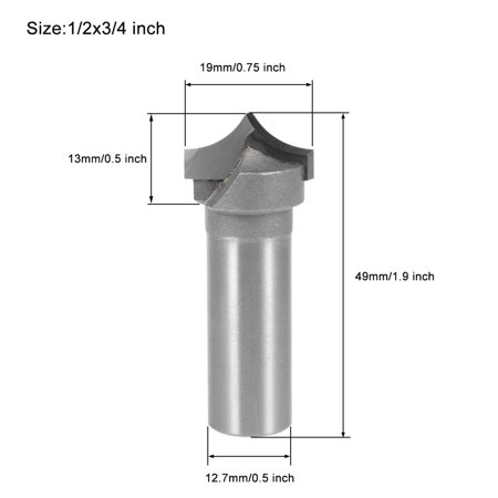 Router Bit 1/2 Shank 3/4 inch Dia Tapered End Mill, Carbide for Woodworking Engraving Machine Edge Trimme - image 1 de 5
