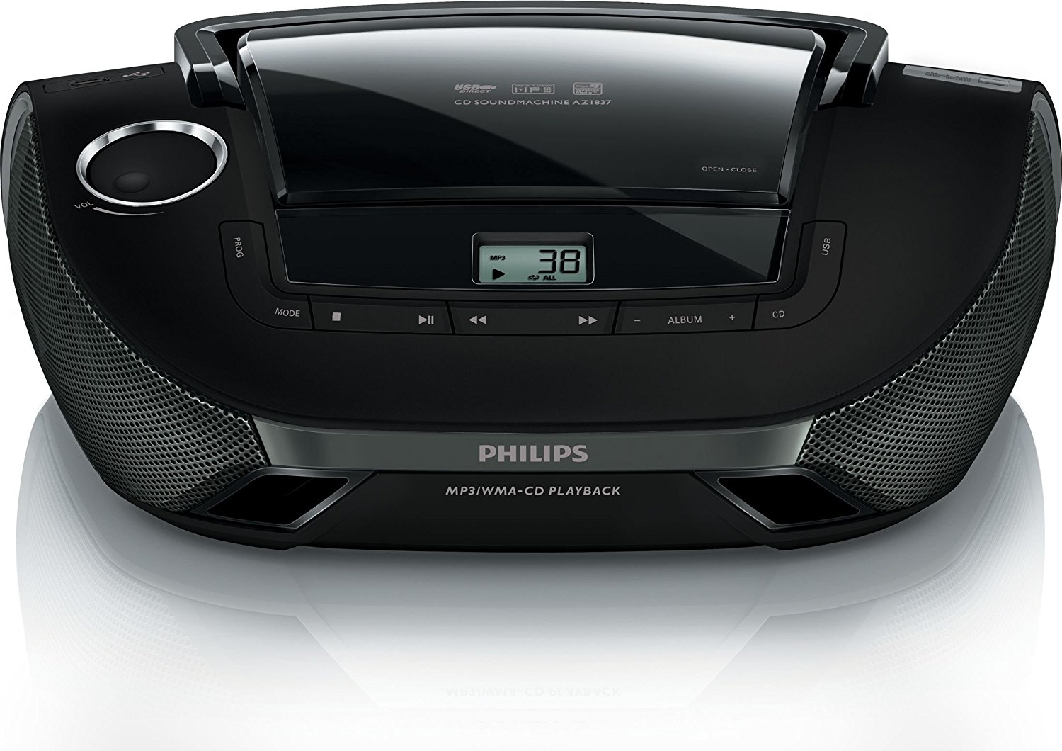 Philips AZ1837 55 CD Player Boombox Sound Machine AM FM Radio Stereo Speaker System with USB AUX by Philips