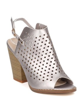 New Women Nature Breeze Webber-12 Metallic Perforated Slingback Chunky Heel Mule