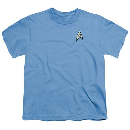 Star Trek Science Uniform Big Boys Youth Shirt (Carolina Blue, Large) (Star Trek Blue Shirts)