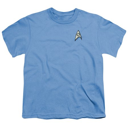 Star Trek Science Uniform Big Boys Youth Shirt (Carolina Blue, Large)