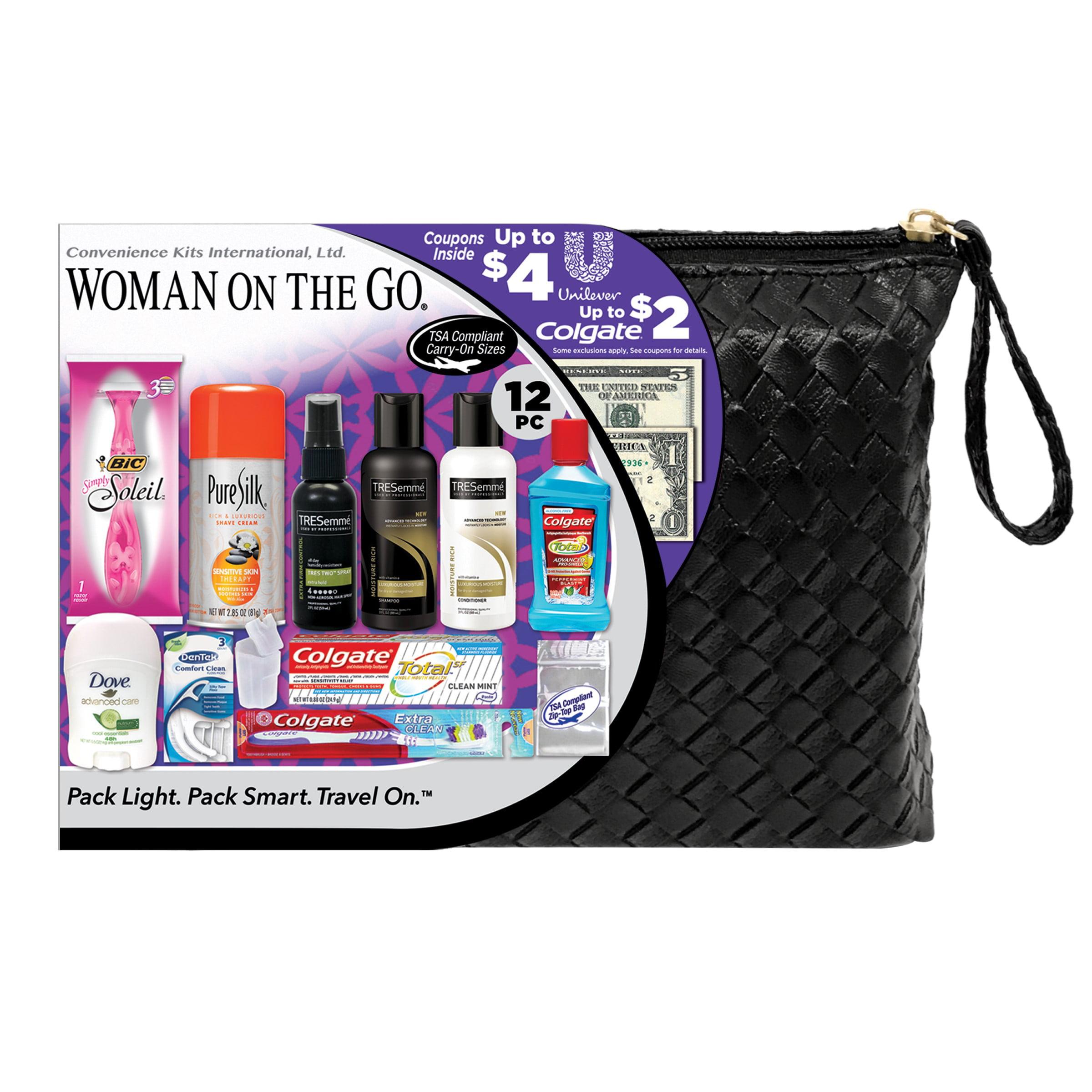 836ec789f681 Convenience Kits International, Women's TRESemme Premium 12 PC Assembled  Travel Kit, TSA Compliant, in Reusable Toiletry Zippered Bag w/ Handle, ...