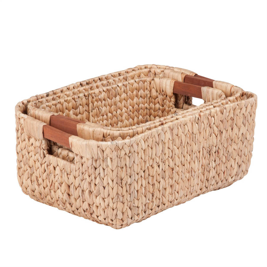 Honey Can Do Woven Water Hyacinth Baskets with Handles, Brown (Set of 3)