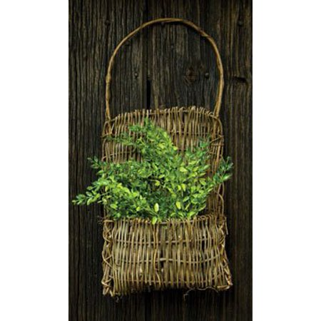 Rustic Twig Vine Pocket Basket Branch Handle Country Primitive Wall Décor ()