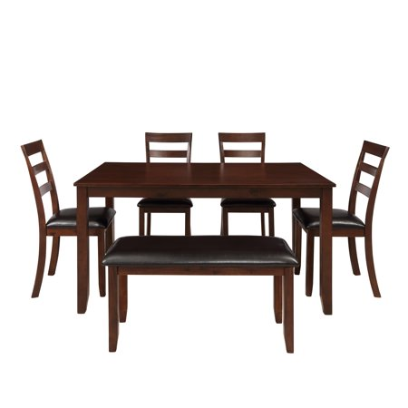 60\'\' x 48\'\' x 30\'\' Kitchen Table and 4 Chairs Set, Wood Veneer Acacia Table  Sets Rectangular Breakfast Table w/Thick Legs & Brown Finish Frame, Dining  ...