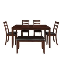 Black Dining Table Set for 6 Persons, 6 Piece Wood Veneer Acacia Frames Rectangular Breakfast Dinette Set with Thick Squared Legs & Brown Finish Frame, for Apartment or Breakfast Nook, S12638