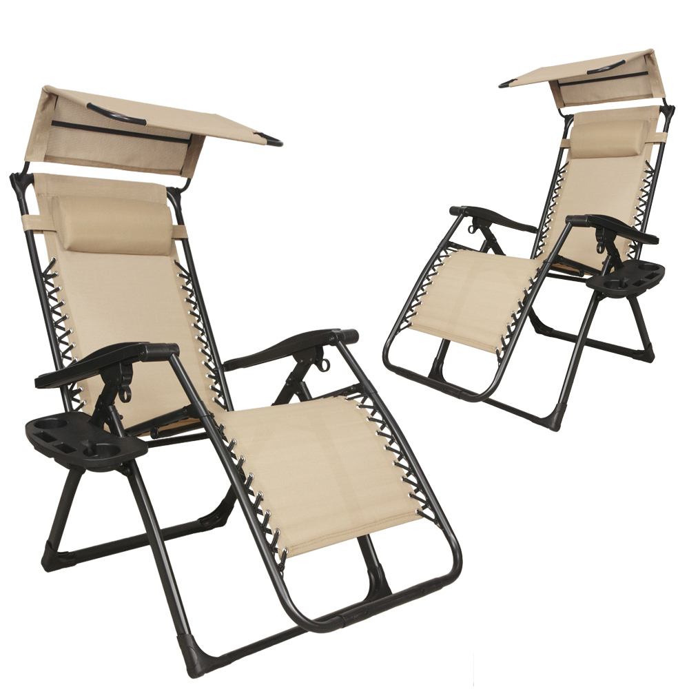 Loadstone Studio , 2-Pack,  Reclining Infinity Zero Gravity Chair with Sun Shield Canopy and Cup Holder, Tan , WMLS2600