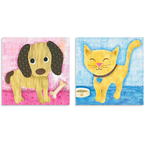 Oopsy Daisy Too Bow Wow Pup/Meow Kitty Canvas Wall Art, Set of 2
