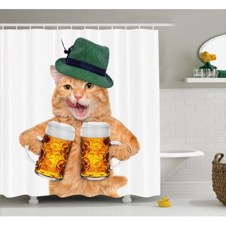 Cat Shower Curtain, Cool Cat with Hat and Beer Mugs Bavarian German Drink Festival Tradition Funny Humorous, Fabric Bathroom Set with Hooks, Multicolor, by - Bavarian Hat