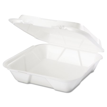 Genpak Snap It 1-Compartment White Foam Containers, 100 count, (Pack of 2)