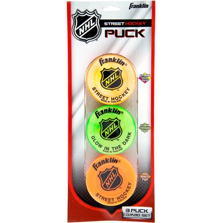Franklin Sports NHL Street Hockey Puck Combo, 3-Pack