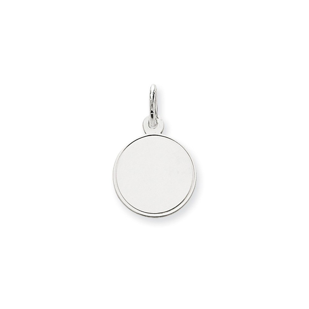 14k White Gold Plain 0.018 Gauge Round Engravable Disc Charm (0.8in long x 0.5in wide)