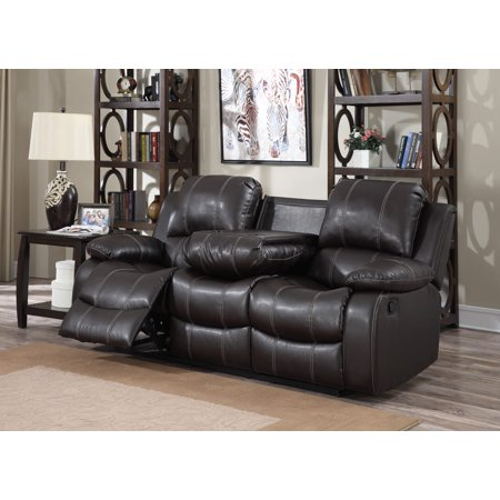 Dark Brown PU Leather 3 Seat Double Recliner Sofa with Drop Down Table
