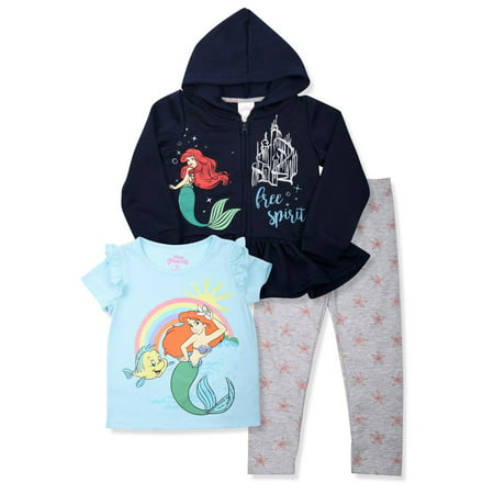 Disney Princess Zip Peplum Hoodie, T-shirt, T-shirt & Leggings, 3pc Outfit Set - Princess Jasmine Inspired Outfit