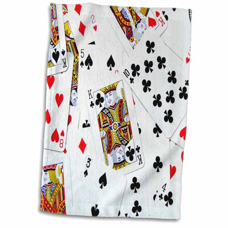 3dRose Scattered playing cards photo - for card game players eg poker bridge games casino las vegas night - Towel, 15 by 22-inch - Poker Night Theme