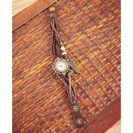 Brown Leather Cord Bracelet - Leather Charm Bracelet Watches Brown