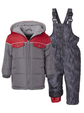 iXtreme Baby Toddler Boy Colorblock Winter Jacket Coat & Snow Bib Snow Pants, 2pc Snowsuit Set