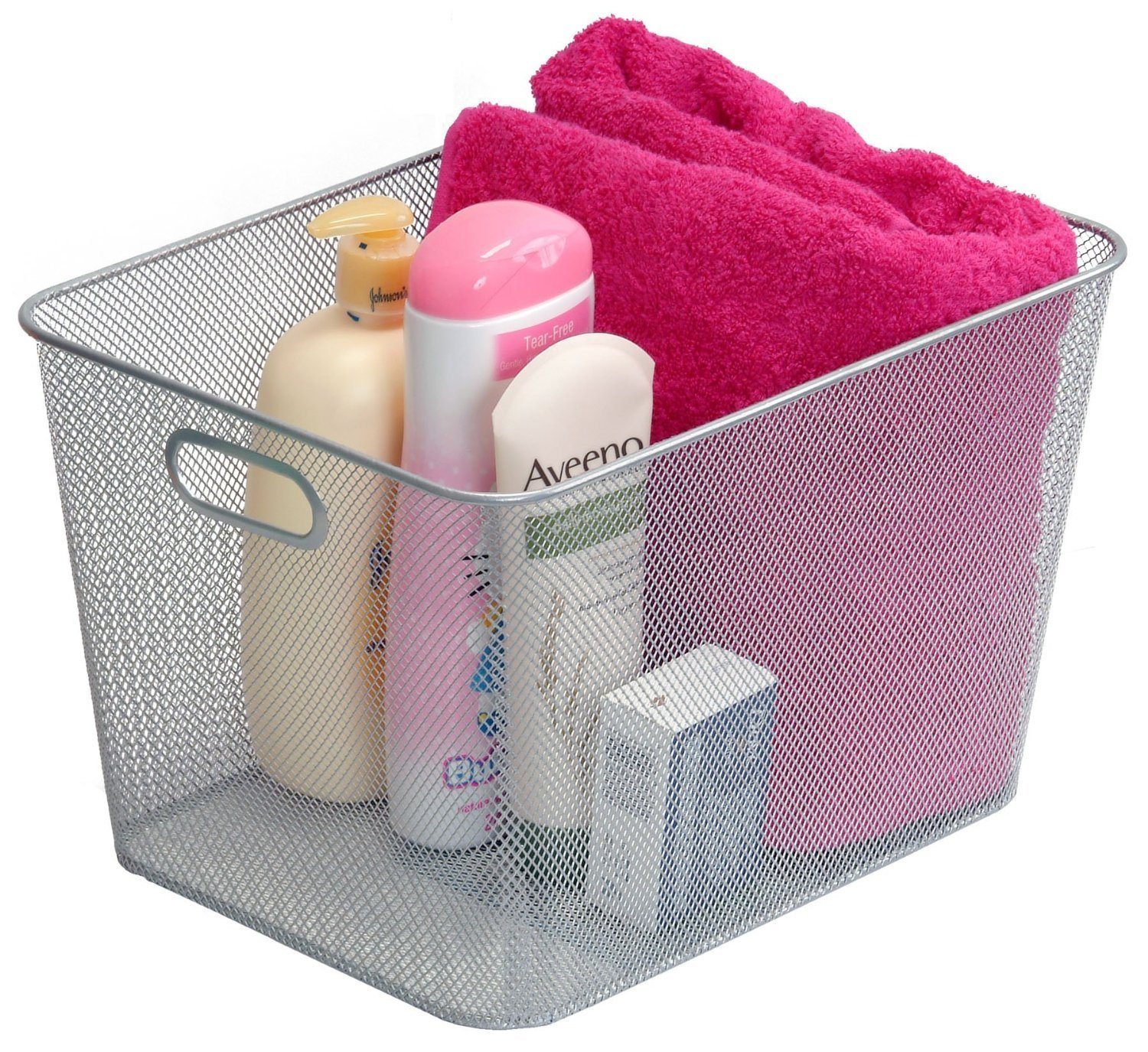 Silver Mesh Open Bin Storage Basket for Cleaning Supplies